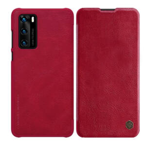 Huawei P40 NILLKIN QIN tok álló, bőr hatású (FLIP, oldalra nyíló, bankkártya tartó) PIROS