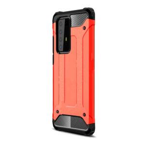 Huawei P40 Pro 5G Defender műanyag telefonvédő (közepesen ütésálló, légpárnás sarok, szilikon belső, fémhatás) PIROS