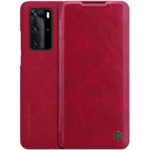 Huawei P40 Pro 5G NILLKIN QIN tok álló, bőr hatású (FLIP, oldalra nyíló, bankkártya tartó) PIROS