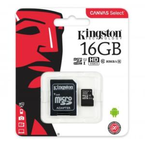 Kingston 16 GB microSDHC™ UHS-1 80MB/s memóriakártya