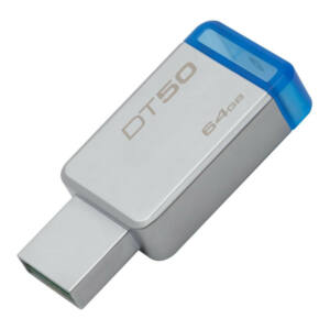 KINGSTON DATATRAVELER 50 64GB 110MB/S USB 3.0 PENDRIVE, EZÜST-KÉK (DT50/64GB)