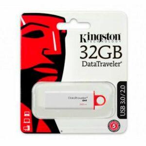 KINGSTON DATATRAVELER G4 32GB 32GB USB 3.0 PENDRIVE, FEHÉR-PIROS