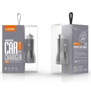 LDNIO C407Q Car QC3.0 Fast Charger 36W - 2 USB kapus autós töltő + lightning adatkábel