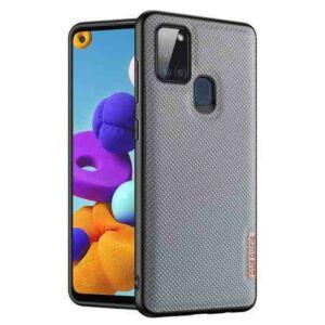 Samsung A217 Galaxy A21s - DUX DUCIS FINO szilikon telefonvédő (műanyag belső, közepesen ütésálló, rombusz minta) KÉK