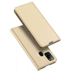 Samsung A217 Galaxy A21s - DUX DUCIS SKIN PRO tok álló, bőr hatású (FLIP, oldalra nyíló, bankkártya tartó, asztali tartó funkció) - ARANY