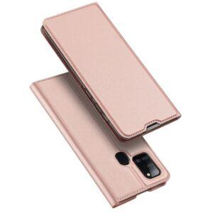 Samsung A217 Galaxy A21s - DUX DUCIS SKIN PRO tok álló, bőr hatású (FLIP, oldalra nyíló, bankkártya tartó, asztali tartó funkció) - ROZÉARANY
