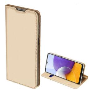 Samsung A226 Galaxy A22 5G - DUX DUCIS SKIN PRO tok álló, bőr hatású (FLIP, oldalra nyíló, bankkártya tartó, asztali tartó funkció) ARANY