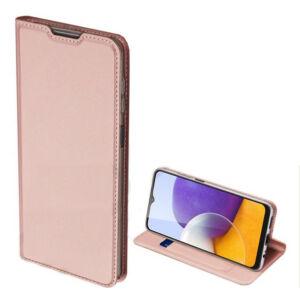 Samsung A226 Galaxy A22 5G - DUX DUCIS SKIN PRO tok álló, bőr hatású (FLIP, oldalra nyíló, bankkártya tartó, asztali tartó funkció) ROZÉARANY