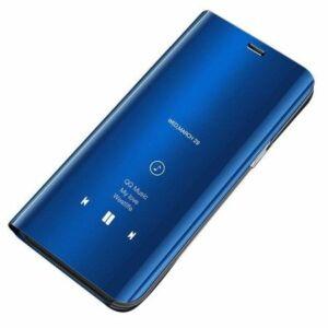 Samsung A415 Galaxy A41 Tok álló (aktív flip, oldalra nyíló, asztali tartó funkció, tükrös felület, Mirror View Case) KÉK