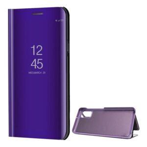 Samsung A415 Galaxy A41 Tok álló (aktív flip, oldalra nyíló, asztali tartó funkció, tükrös felület, Mirror View Case) LILA