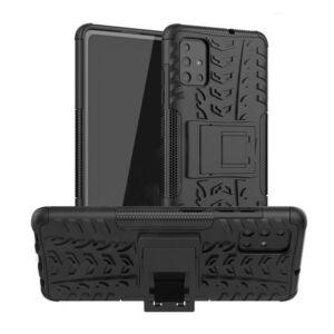 Samsung A515F Galaxy A51 Defender műanyag telefonvédő (közepesen ütésálló, szilikon belső, kitámasztó, autógumi minta) FEKETE
