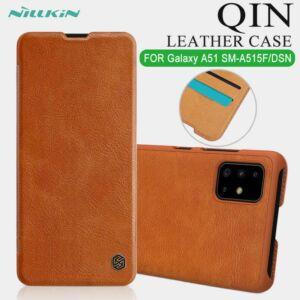 Samsung A515F Galaxy A51 NILLKIN QIN tok álló, bőr hatású (FLIP, oldalra nyíló, bankkártya tartó) BARNA