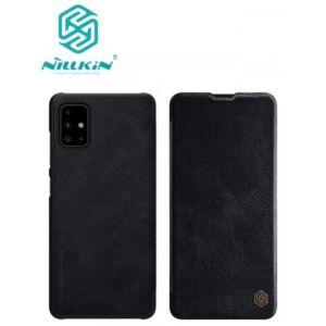 Samsung A515F Galaxy A51 NILLKIN QIN tok álló, bőr hatású (FLIP, oldalra nyíló, bankkártya tartó) FEKETE