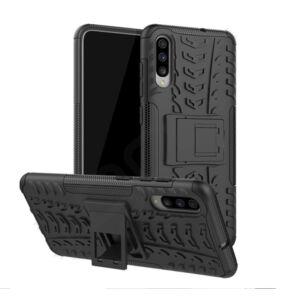 Samsung A705 Galaxy A70, Defender műanyag telefonvédő (közepesen ütésálló, gumi / szilikon belső, kitámasztó, autógumi minta) FEKETE