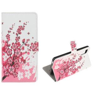 Samsung G770 Galaxy S10 Lite Tok álló, bőr hatású (FLIP, oldalra nyíló, asztali tartó funkció, virág minta) FEHÉR