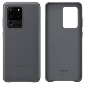 SAMSUNG G988 GALAXY S20 ULTRA LEATHER COVER, GYÁRI BŐR TOK, SZÜRKE EF-VG988LJ