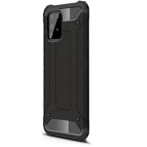 Samsung Galaxy S10 Lite (SM-G770F) Defender műanyag telefonvédő (közepesen ütésálló, légpárnás sarok, szilikon belső, fémhatás) FEKETE