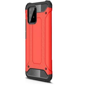 Samsung Galaxy S10 Lite (SM-G770F) Defender műanyag telefonvédő (közepesen ütésálló, légpárnás sarok, szilikon belső, fémhatás) PIROS