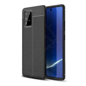 Samsung Galaxy S10 Lite (SM-G770F) Szilikon telefonvédő (közepesen ütésálló, bőr hatású, varrás minta) FEKETE