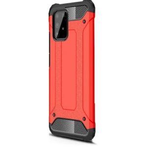 Samsung Galaxy S20 Plus (G985) Defender műanyag telefonvédő (közepesen ütésálló, légpárnás sarok, szilikon belső, fémhatás) Piros