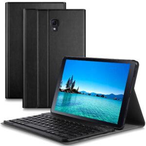 Samsung Galaxy Tab A 10.5 (T590 / T595) Tok álló, bőr hatású (FLIP, kivehető bluetooth billentyűzet, asztali tartó funkció, QWERTY, angol nyelvű) FEKETE