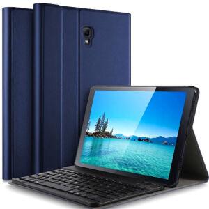 Samsung Galaxy Tab A 10.5 (T590 / T595) Tok álló, bőr hatású (FLIP, kivehető bluetooth billentyűzet, asztali tartó funkció, QWERTY, angol nyelvű) SÖTÉTKÉK