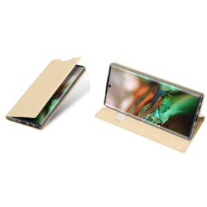 Samsung N970 Galaxy Note 10 - DUX DUCIS SKIN PRO tok álló, bőr (FLIP, oldalra nyíló, bankkártya tartó, asztali tartó funkció) ARANY