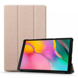 Samsung T510 / T515 Galaxy Tab A 2019 10.1 - álló, bőr (FLIP, oldalra nyíló, TRIFOLD asztali tartó funkció) ARANY