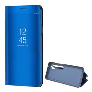 Xiaomi Mi Note 10 / Mi Note 10 Pro tok álló (aktív flip, oldalra nyíló, asztali tartó funkció, tükrös felület, Mirror View Case) KÉK