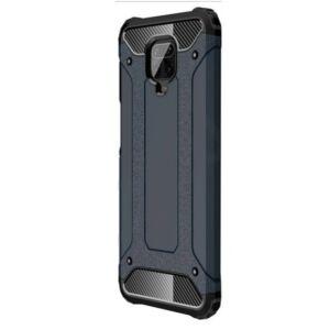 Xiaomi Redmi Note 9 Defender műanyag telefonvédő (közepesen ütésálló, légpárnás sarok, szilikon belső, fémhatás) sötétkék