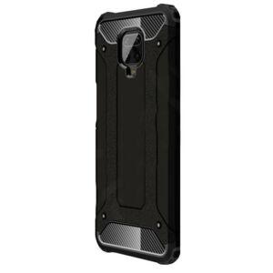 Xiaomi Redmi Note 9S Defender műanyag telefonvédő (közepesen ütésálló, légpárnás sarok, szilikon belső, fémhatás) FEKETE